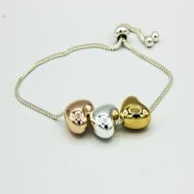 Adjustable 3 Tone heart bracelet