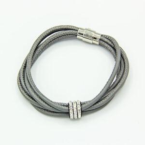 Grey 5-strand soft nappa bracelet with crystal detail
