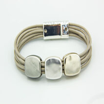 Magnetic rope style bracelet with 3 silver matt squares