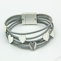 Leather Rope Style bracelet with silver hearts and magnetic clasp