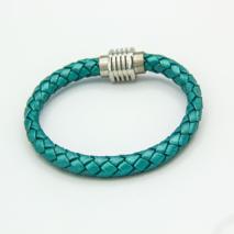 Jade Green Plaited Bolo leather bracelet