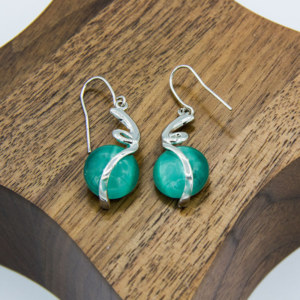 Round Green Set stone earring