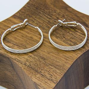 Silver Fine 3-hoop earrings