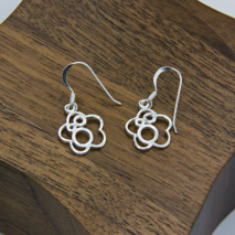 Open Flower and Circle Earrings