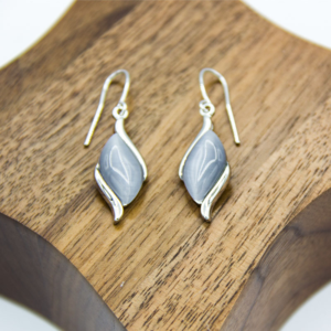 Grey Diamond shaped pendant earrings