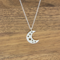 Silver Crescent Moon on fine chain Necklace