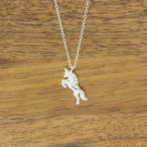 Silver Unicorn pendant on fine silver necklace