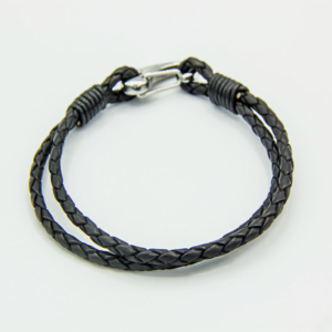 Black 22cm 2-strand leather bracelet with shrimp clasp