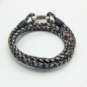 Denim coloured 2-strand double wrap leather bracelet with shrimp clasp