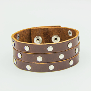 Brown Leather cuff Bracelet with flat studs on 3 strips of slashed Leather
