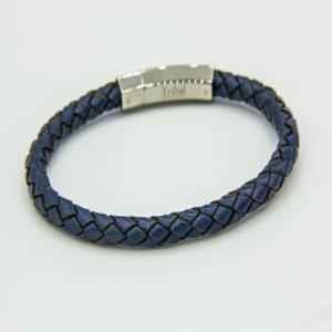 Blue plaited leather bracelet