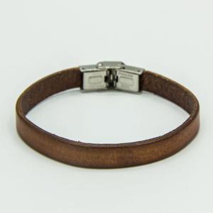 Unisex 21cm Brown Leather bracelet with folder clasp