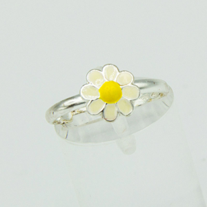 Adjustable Silver and Enamel Daisy Ring