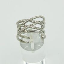 Adjustable Crystal Silver Crossover Ring