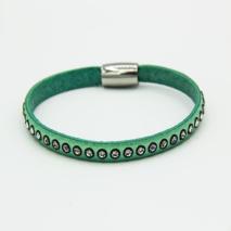Aqua + Crystal stone Leather bracelet