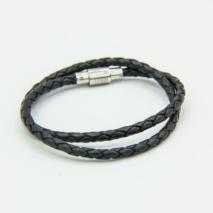 Kids Black 2-wrap leather bracelet