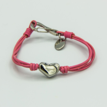 Kids heart bracelet on 4-strand leather strap