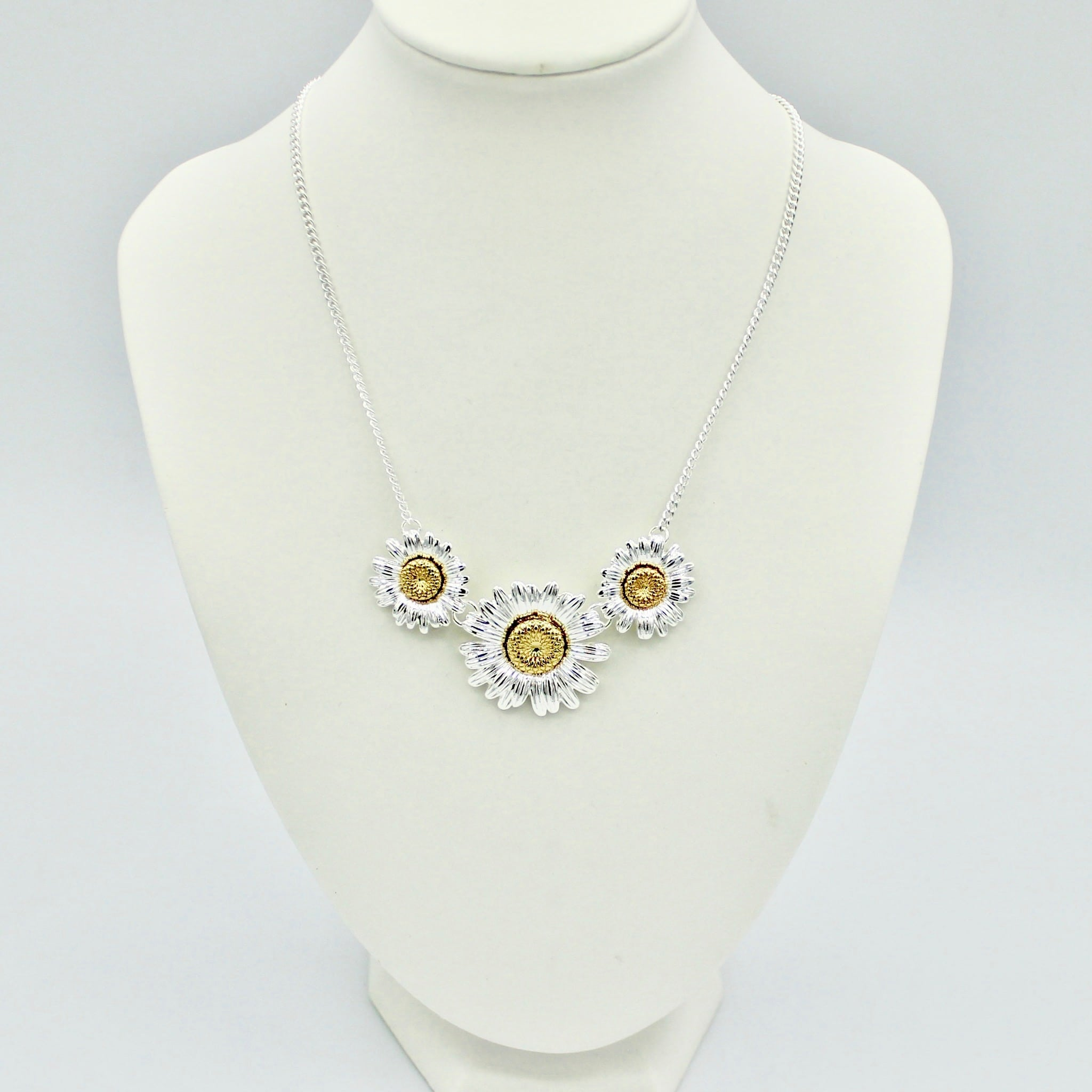 3 Ornate Yellow Daisy Necklace