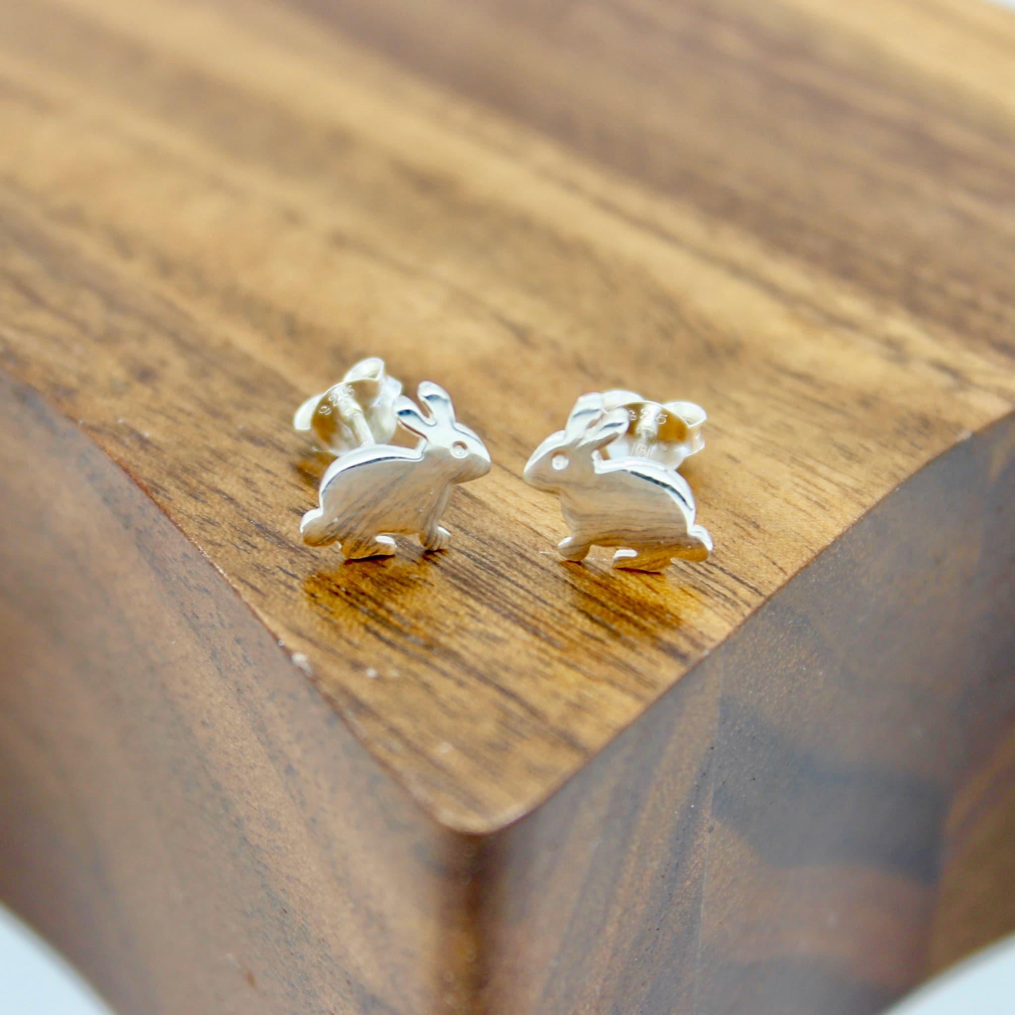 Solid Silver bunny stud earrings