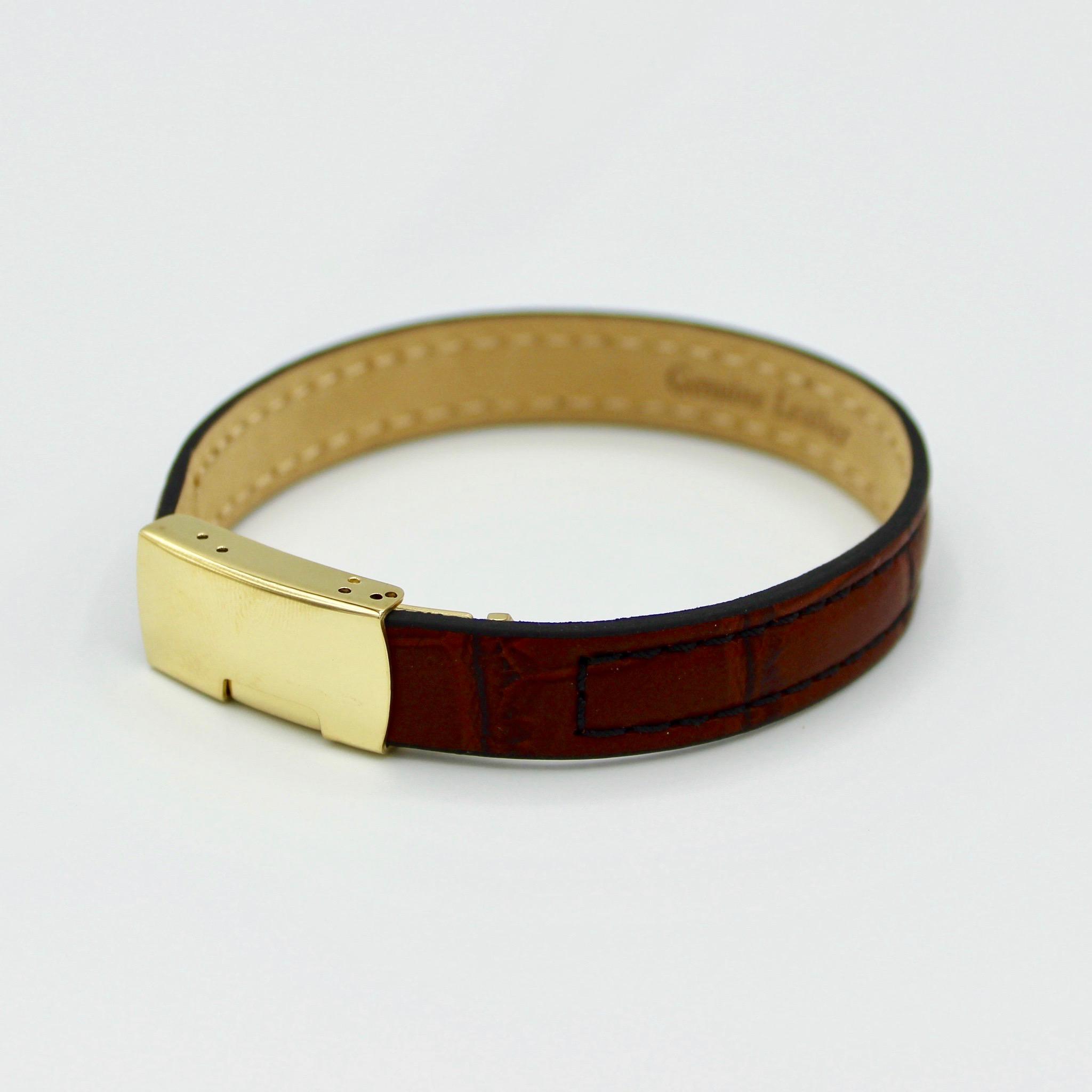 Ladies Premium Slim Leather Bracelet with clasp