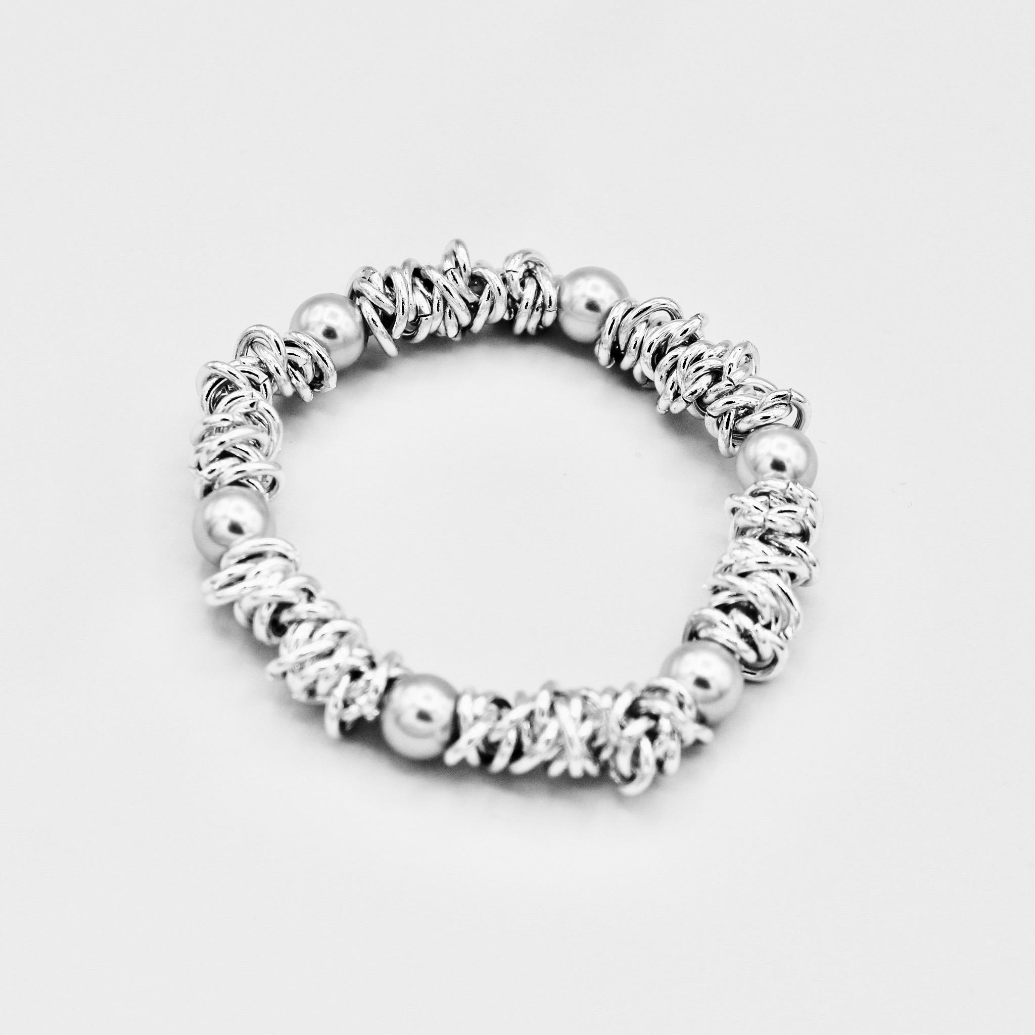 Ladies Elasticated Silver and Grey detailed bracelet