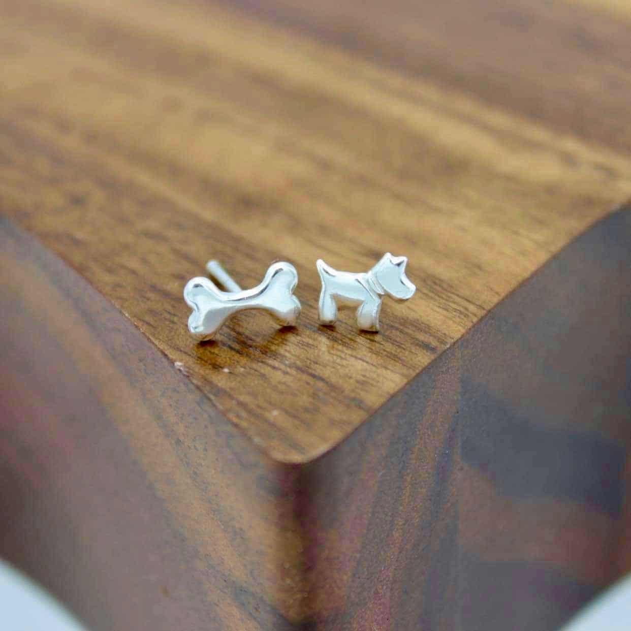 Dog and Bone Stud earrings