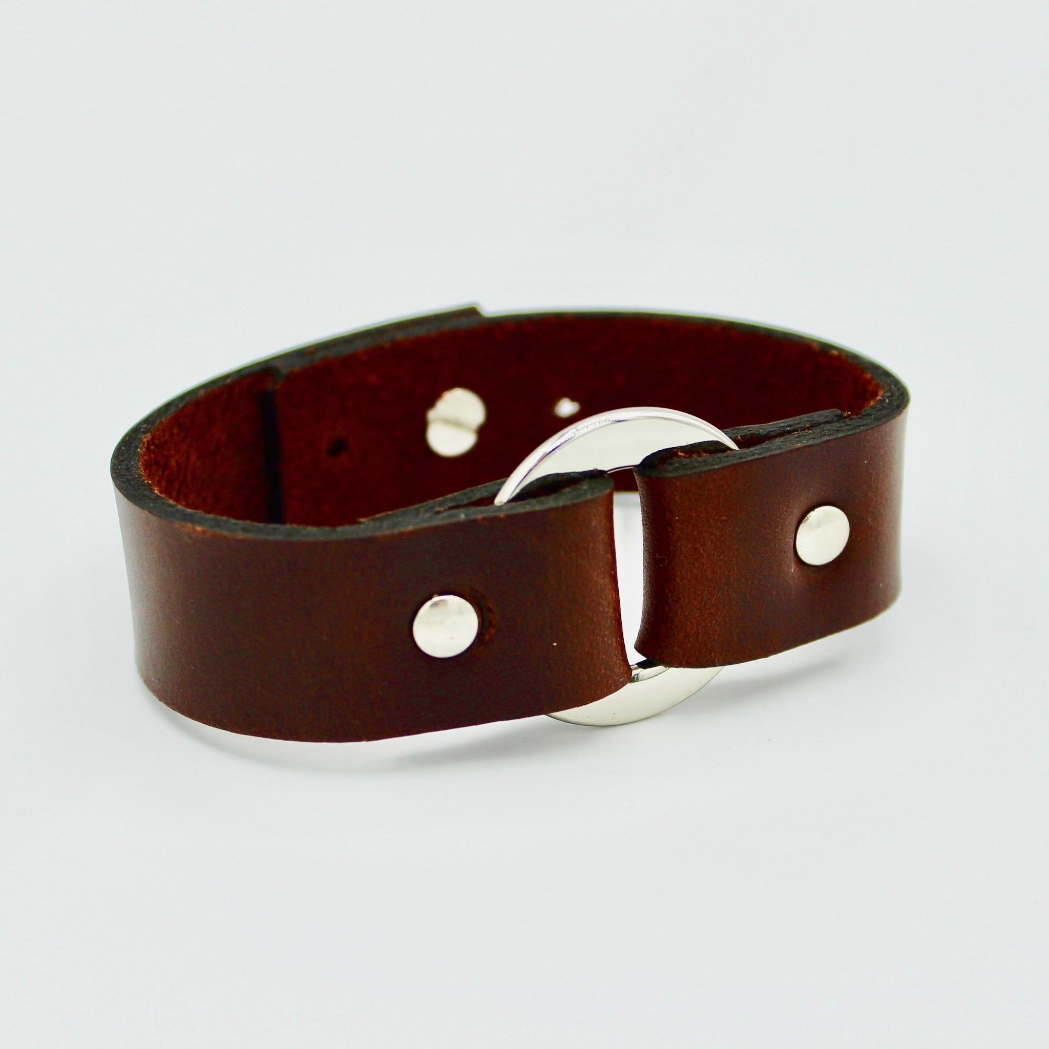 Unisex brown leather bracelet