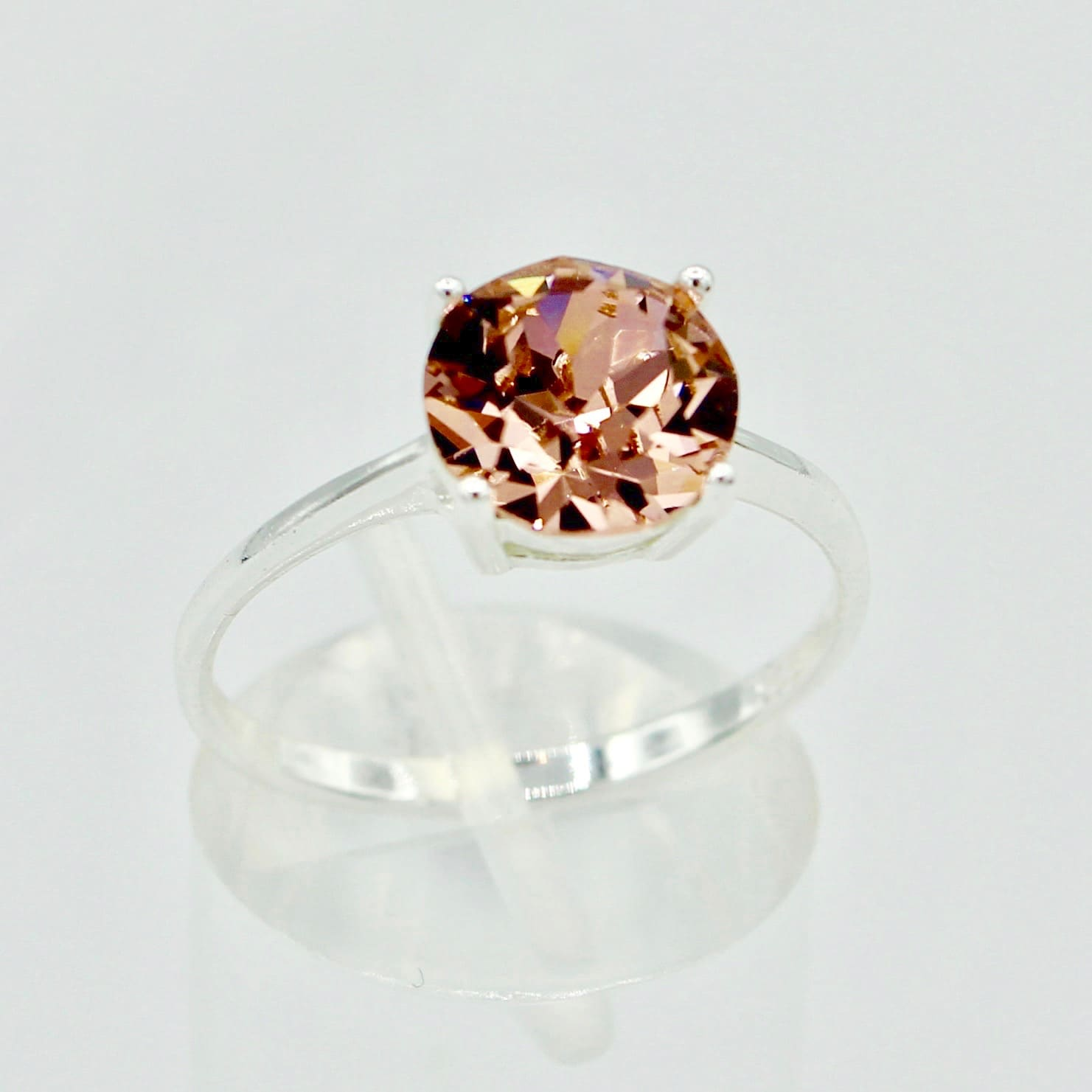 Solitaire Crystal SterlingSilver Ring